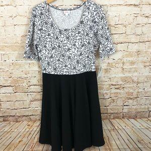LuLaRoe Nicole Dress womens 2XL black white floral